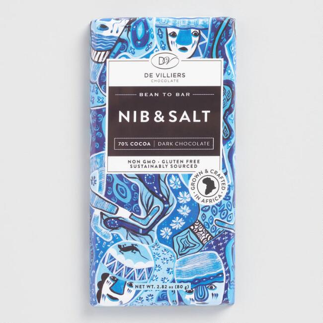 De Villiers Cocoa Nib and Sea Salt Dark Chocolate Bar