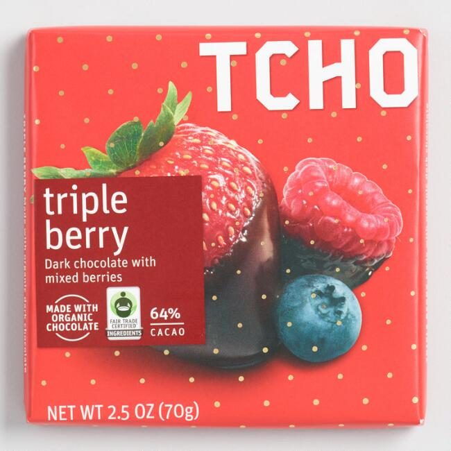 TCHO Triple Berry Dark Chocolate Bar