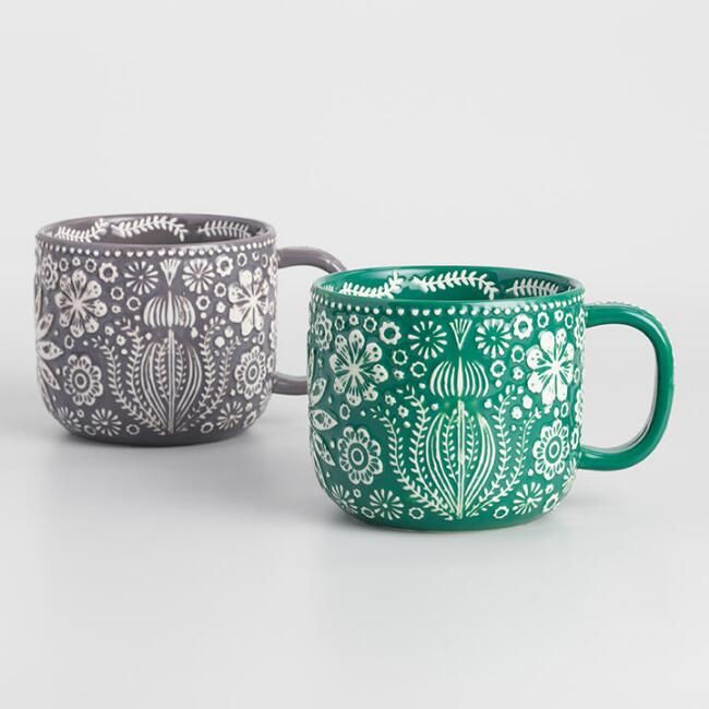 Jolly Hearts Mugs Set of 2