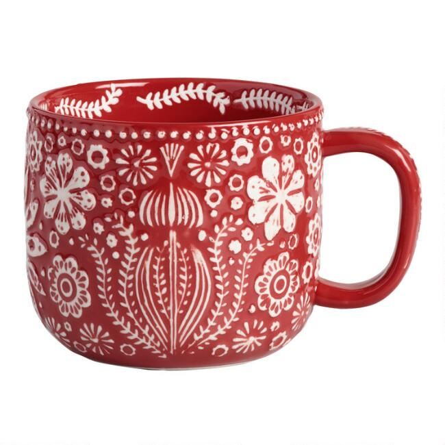 Red Jolly Hearts Mugs Set of 4