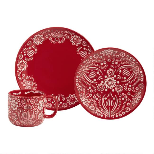 Red Jolly Hearts Mug and Plate Collection