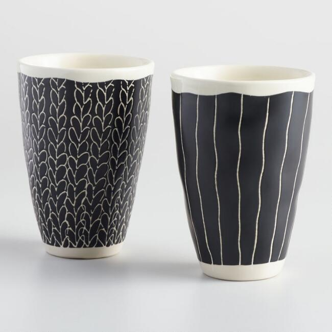 Black and Ivory Finn Handleless Teacups Set of 2