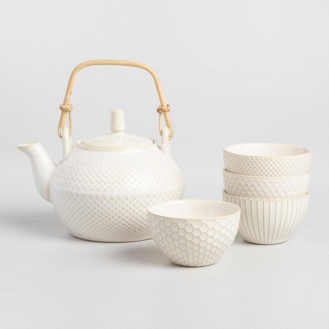 White Textured 5 Piece Tea Set