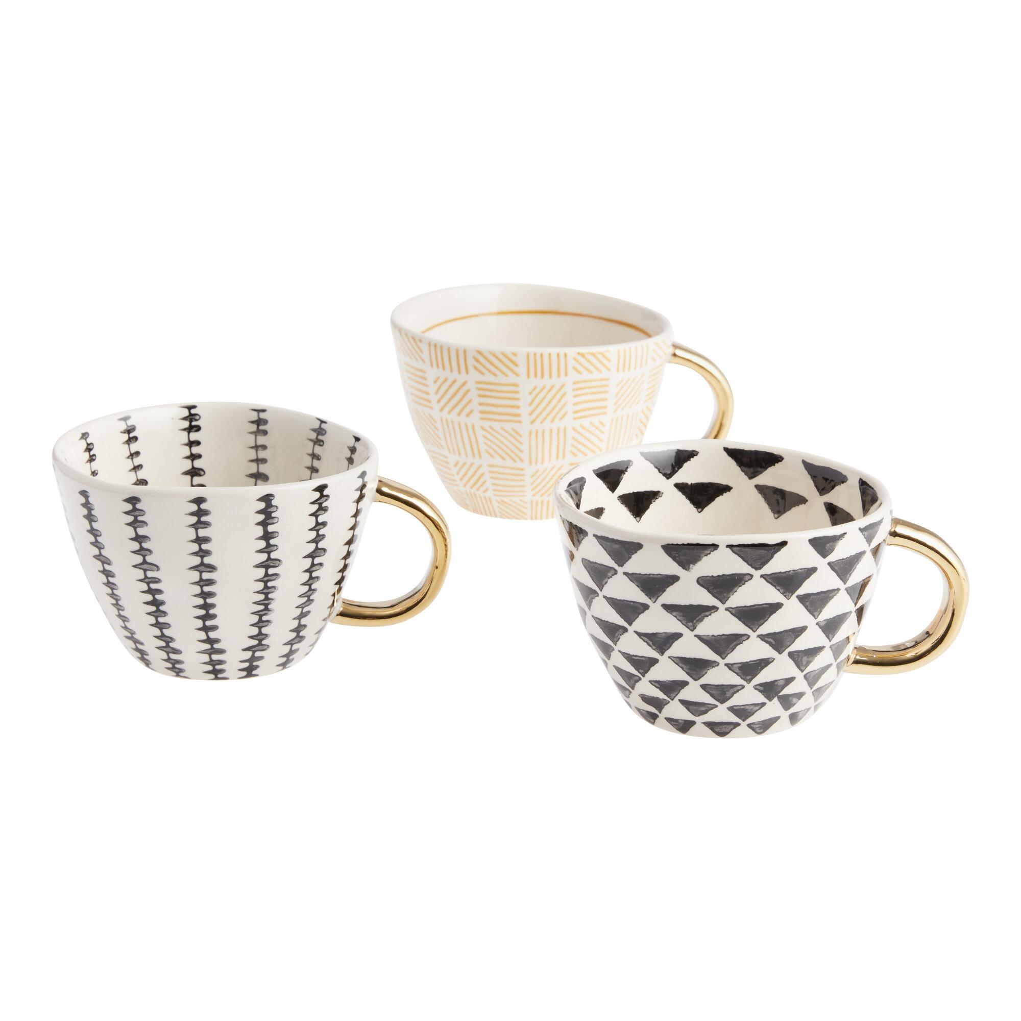 Geo Mugs with Gold Handles Set of 3: Black/Gold - Stoneware by World Market