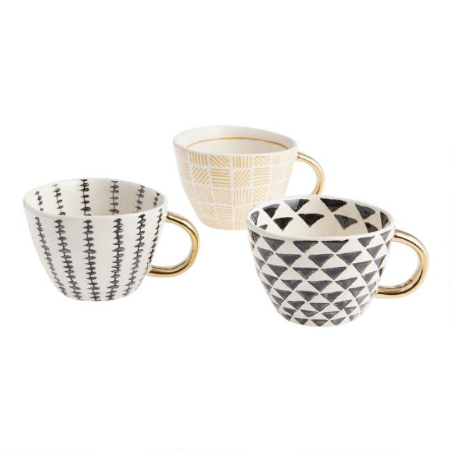 Geo Mugs with Gold Handles Set of 3