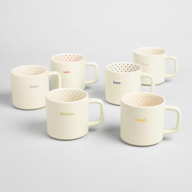 Polka Dot Sentiment Mugs Set of 6