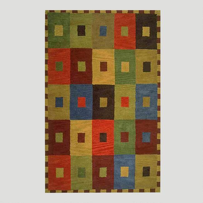 Multicolor Squares Tufted Wool Rug