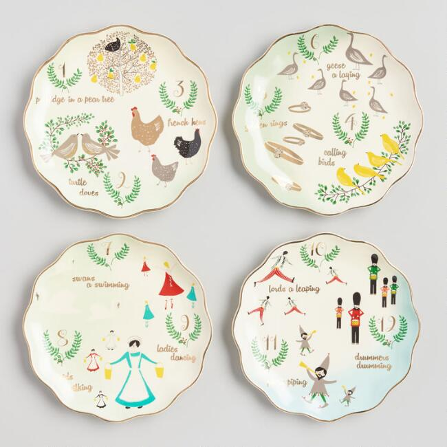 12 Twelve Days of Christmas Plates Set of 4