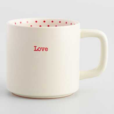 White and Red Polka Dot Love Mug
