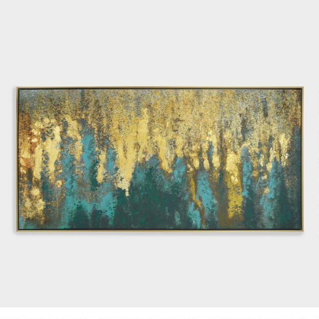 Teal and Gold Woods Wall Art in Gold Frame | World Market