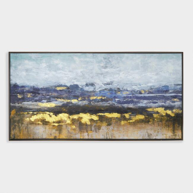 Distant Landscape Wall Art in Brown Frame