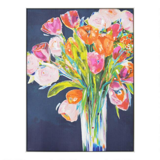 Multicolor Floral Bouquet Framed Canvas Wall Art