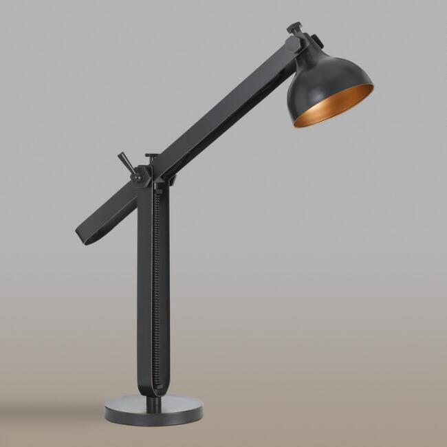 Black and Dark Bronze Metal Adjustable Desk Lamp