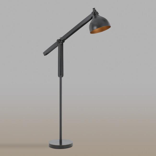 Black and Dark Bronze Metal Adjustable Floor Lamp