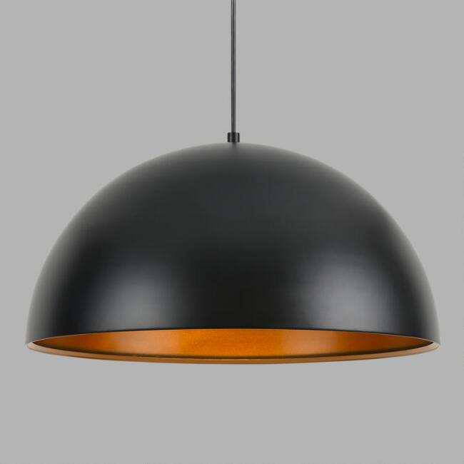 Black and Dark Bronze Metal Pendant Lamp