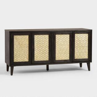 Wood And Rattan Dianey Storage Cabinet