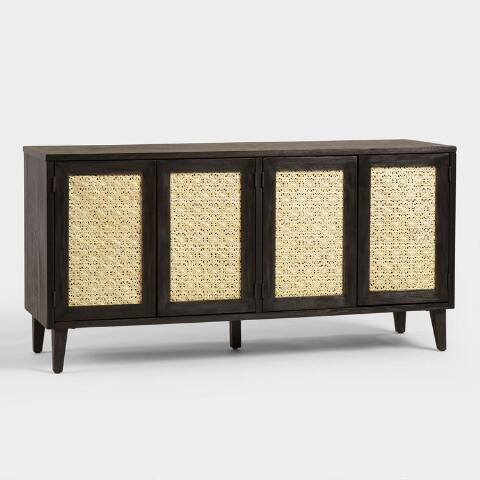 Wood And Rattan Dianey Storage Cabinet Previous V6 V1