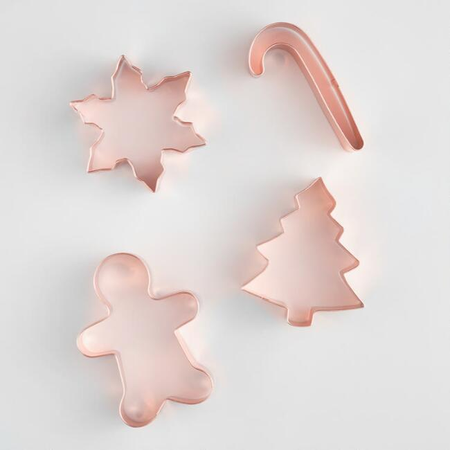 Copper Holiday Shapes Cookie Cutters 4 Pack