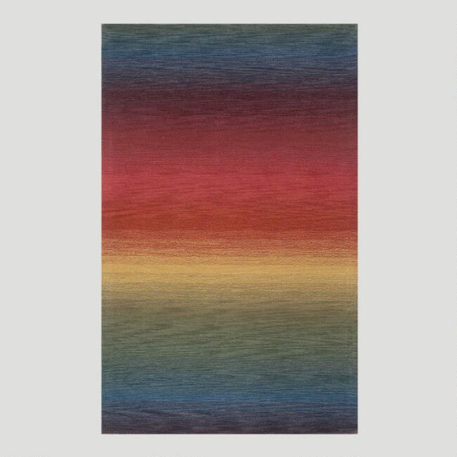 Ombre Stripes Multi Wool Rug