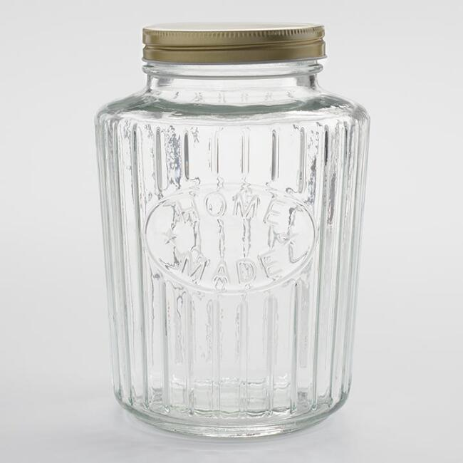 Large Homemade Ribbed Glass Jar
