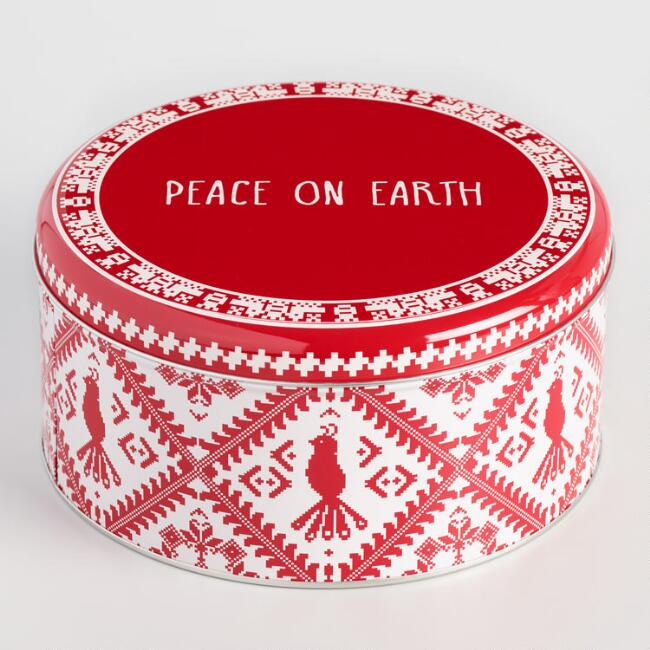 Round Peace on Earth Cookie Tin