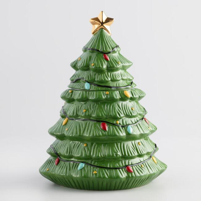 Ceramic Holiday Tree Cookie Jar