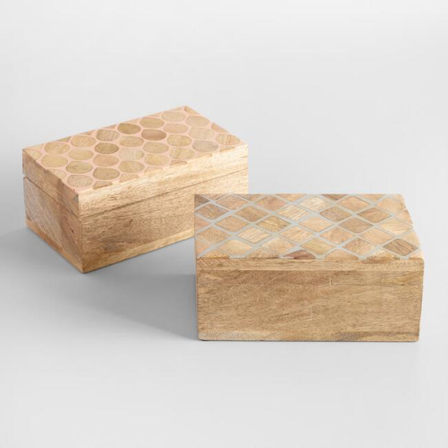 Geometric Resin and Wood Tea Storage Boxes Set of 2