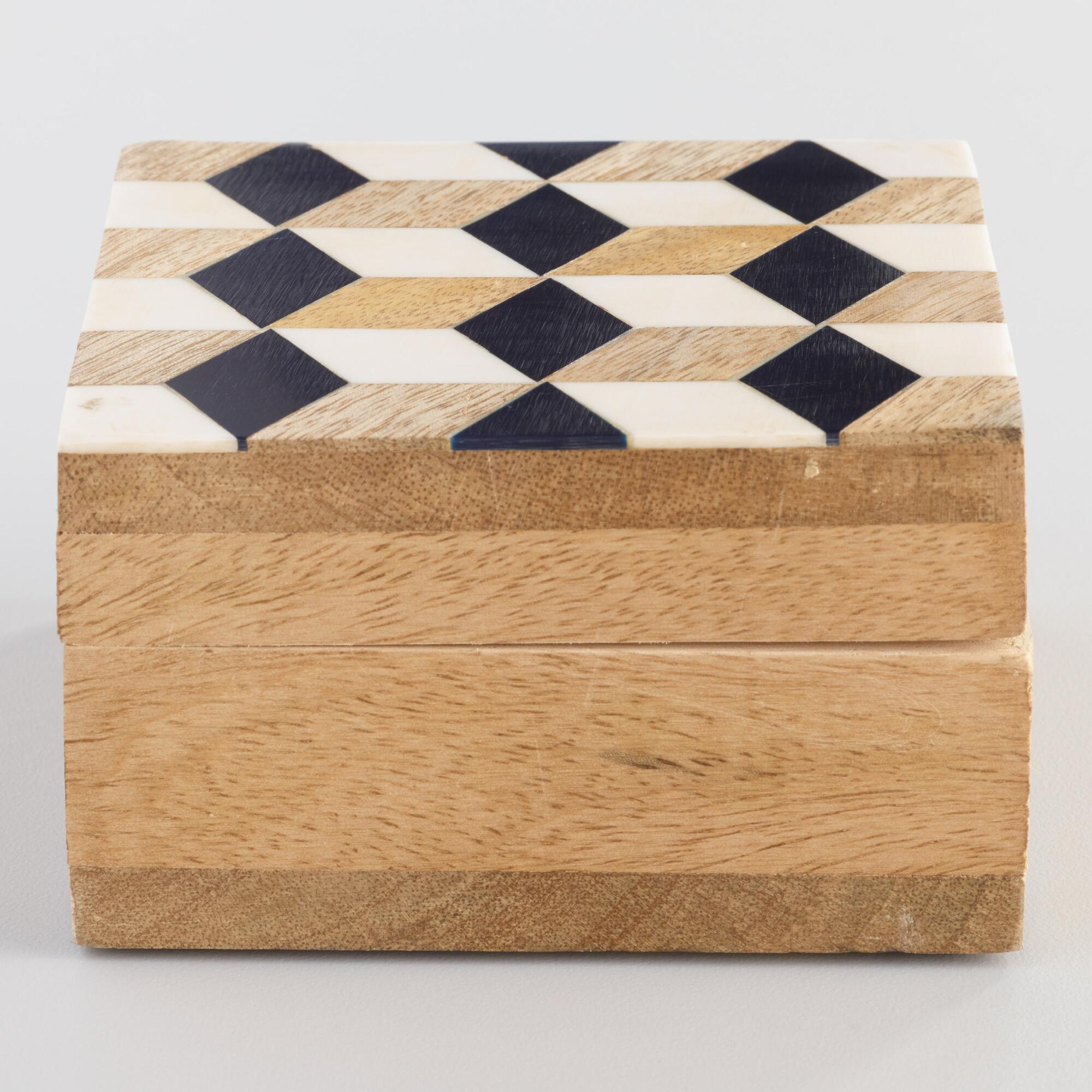 Geometric Cube Resin and Wood Tea Storage Box by World Market