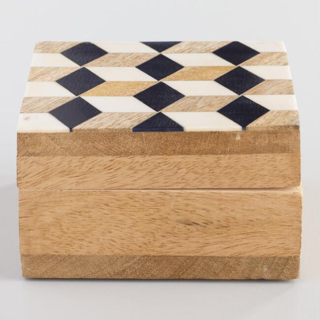 Geometric Cube Resin and Wood Tea Storage Box