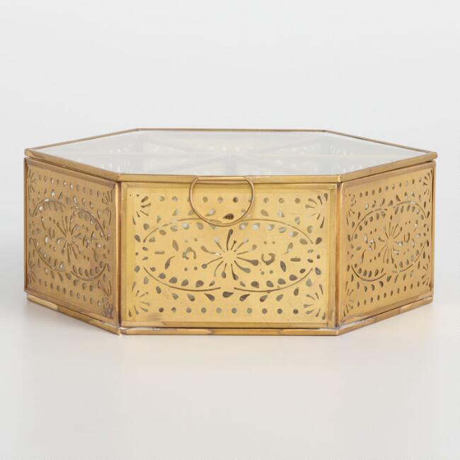 Gold Cutout and Glass Hexagon Tea Storage Box
