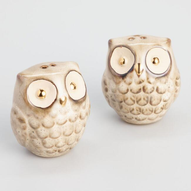 Gold Reactive Glaze Owl Salt and Pepper Shaker Set