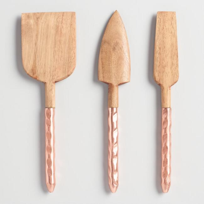 Wood and Copper 3 Piece Cheese Knife Gift Set