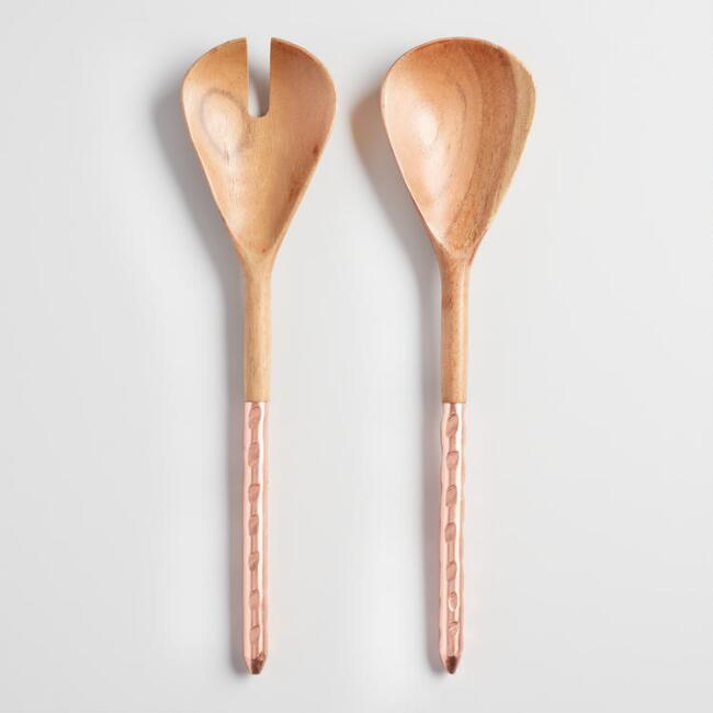 Wood and Copper 2 Piece Salad Server Gift Set