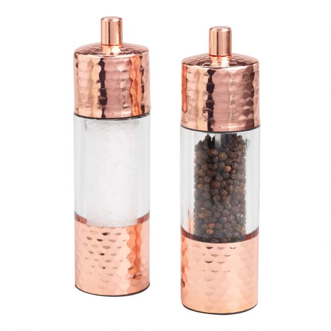 Hammered Copper Salt and Pepper Grinder Set