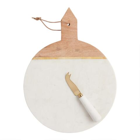 White Marble And Wood Cheese Board And Knife Set