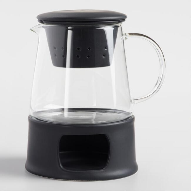 Matte Black Ceramic Infuser Teapot with Stand