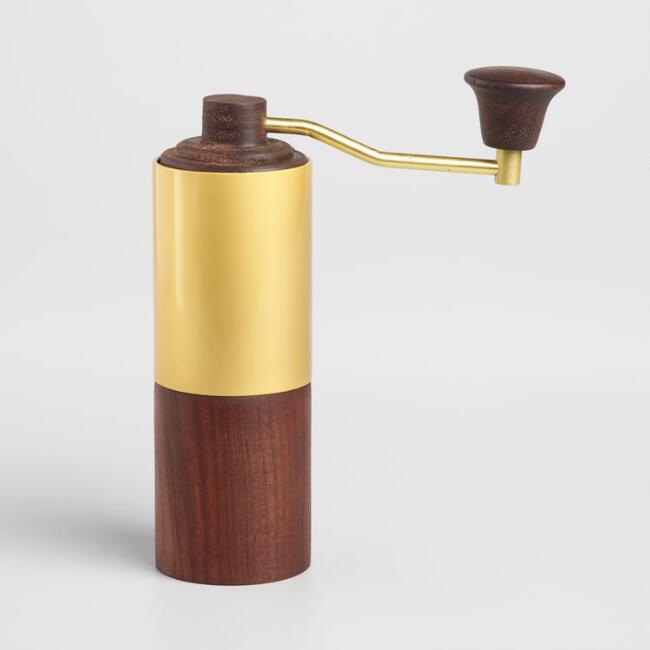 Walnut Wood Manual Coffee Grinder with Gold Handle