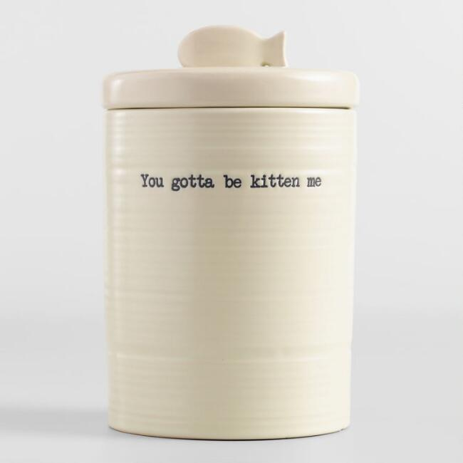 Ceramic Cat Treat Canister