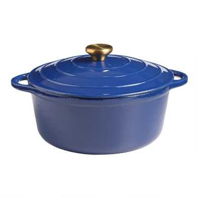 5 Quart Indigo Blue Enamel Cast Iron Dutch Oven