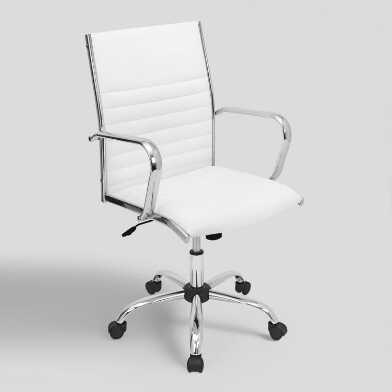 White Leatherette Channel Back Office Chair