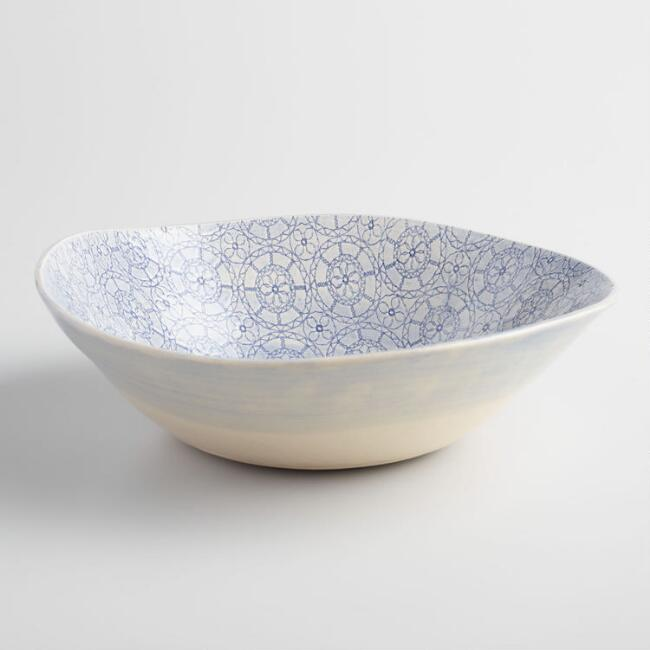 Wonki Ware Medium Blue Wheel Salad Bowl