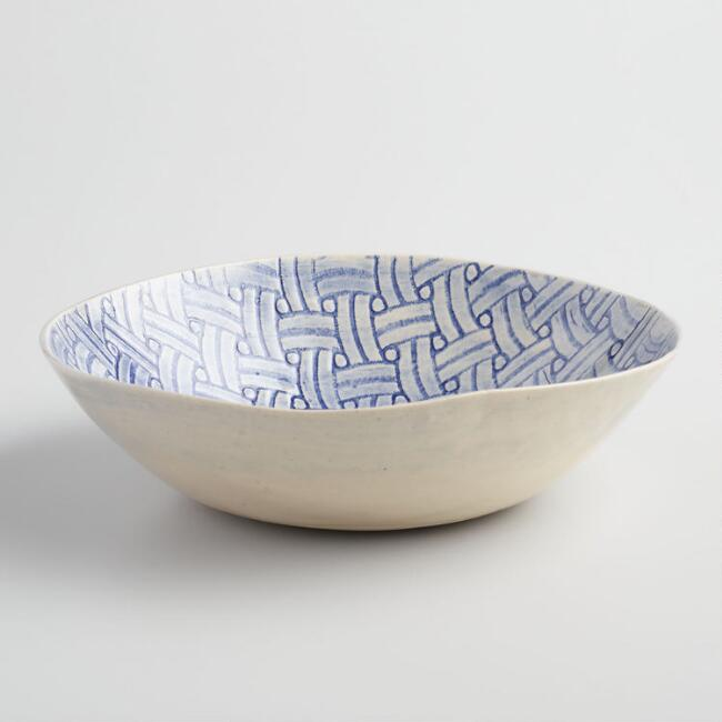 Wonki Ware Small Blue Basket Salad Bowl