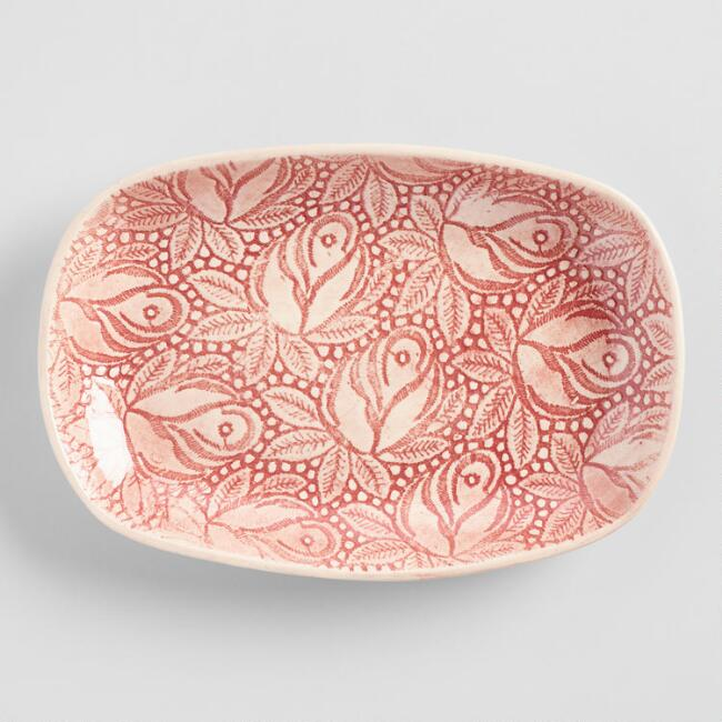 Wonki Ware Red Medium Rosebud Snack Plate