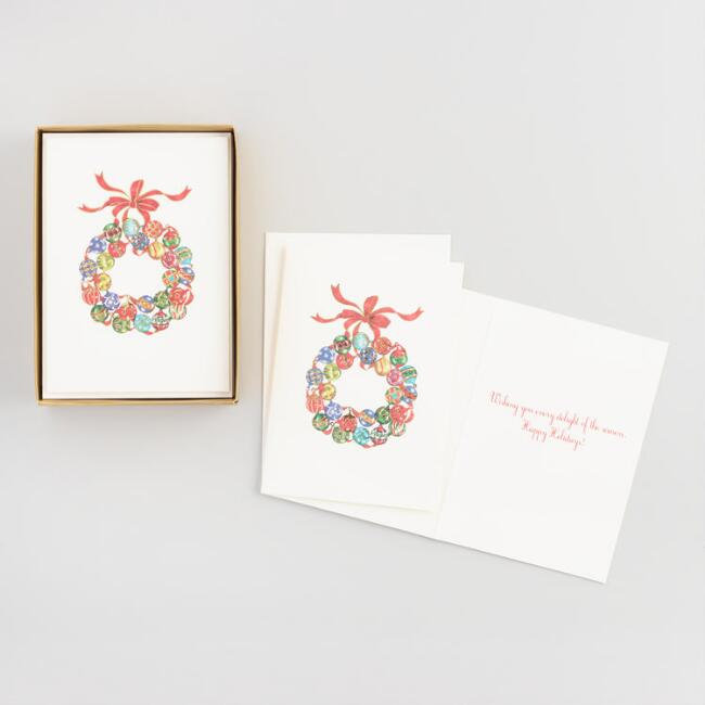 Ornament Wreath Boxed Holiday Cards Set of 15