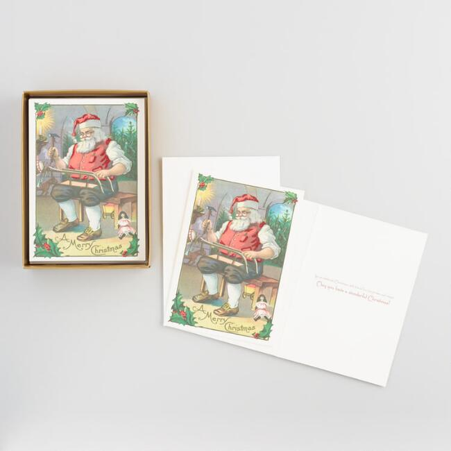 Vintage Santa Boxed Holiday Cards Set of 15