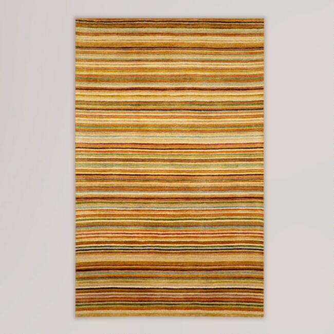 Pastel Striped Tufted Wool Rug