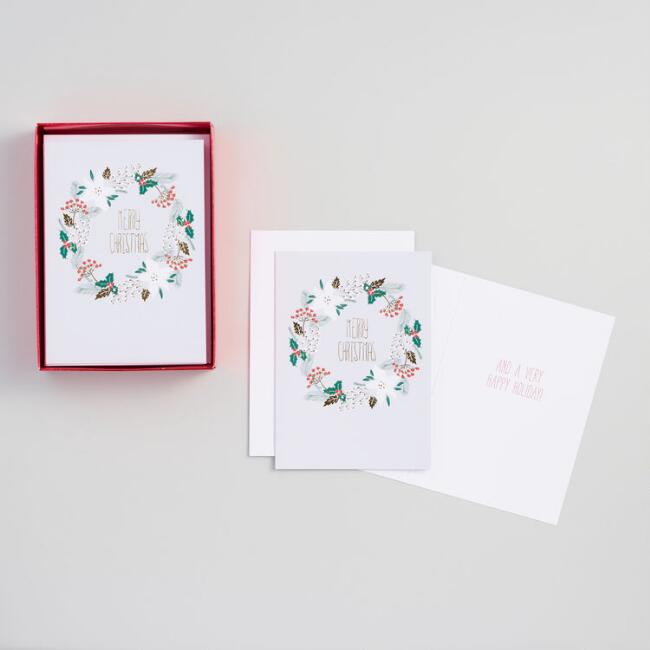 Merry Christmas Wreath Boxed Holiday Cards Set of 15