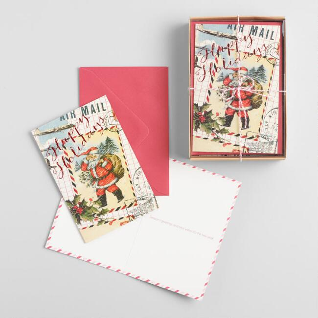 Santa Postman Boxed Holiday Cards Set of 15