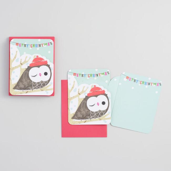Die Cut Owl Boxed Holiday Cards Set of 12
