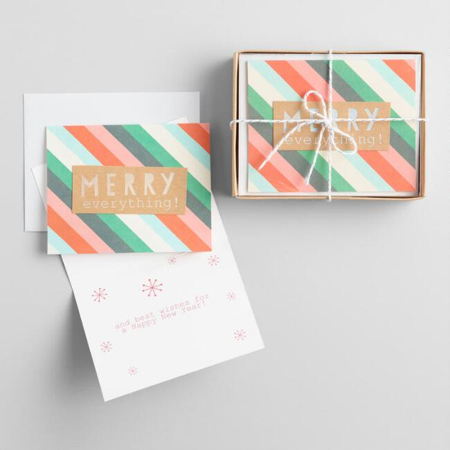 Merry Everything Striped Boxed Holiday Cards Set of 15